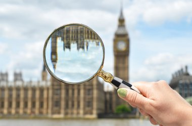 Magnifying glass against Big Ben