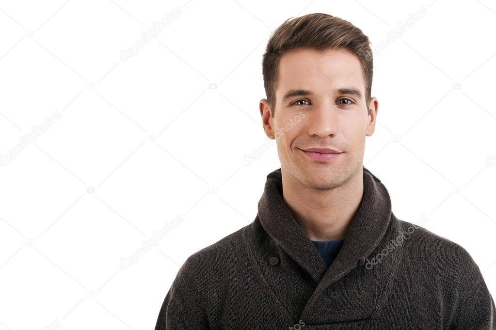 Retrato De Hombre Atractivo En Ropa Casual Mirando A Cámara