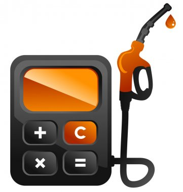 Concepts illustration of fuel station pump as calculator stock vector