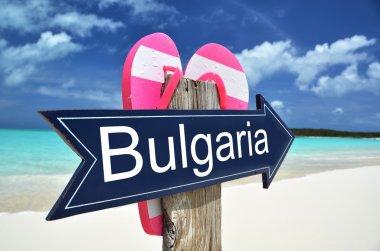 BULGARIA sign on the beach stock vector