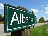 Albania signpost along a rural road