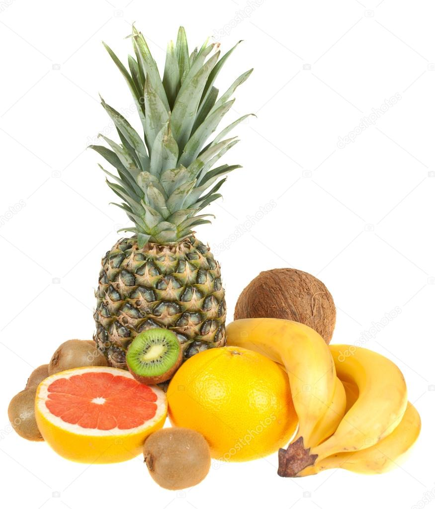 Tropical fruits on a white background, isolated