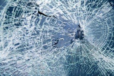 Close-up broken car windshield