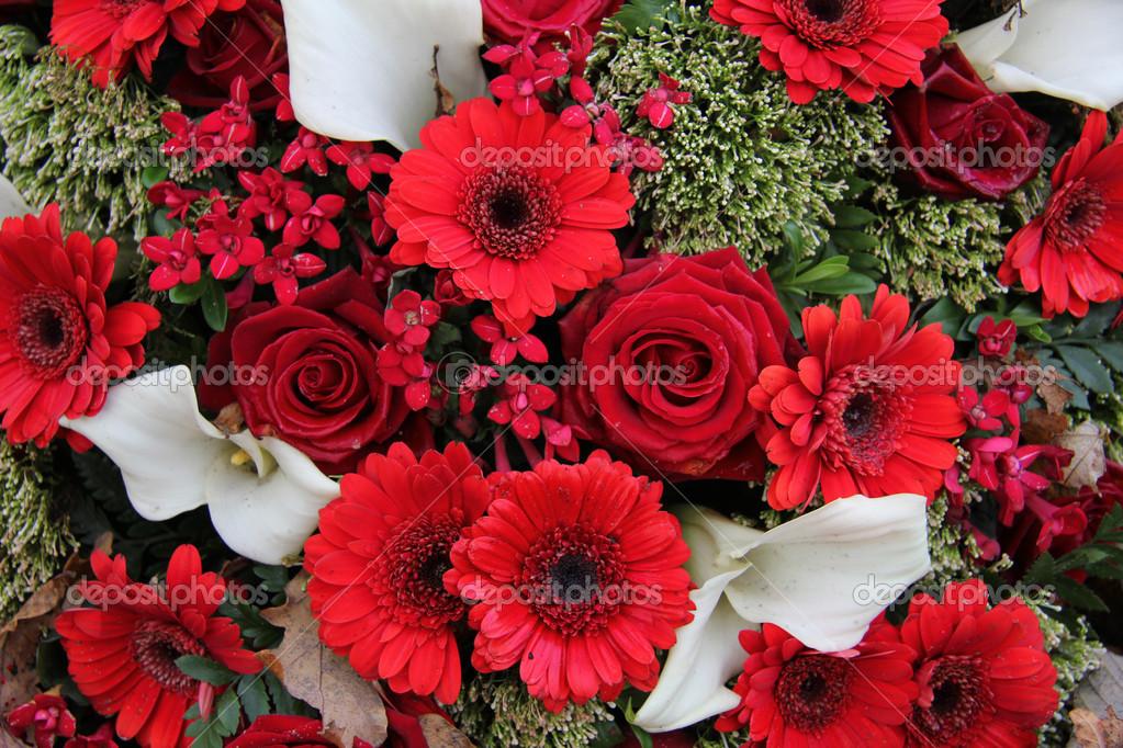Arreglo Floral En Rojo Y Blanco Fotos De Stock