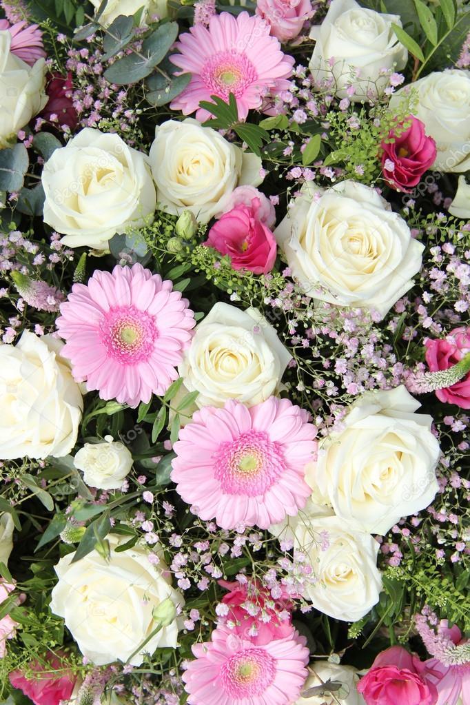 pink gerberas and white roses in bridal arrangement