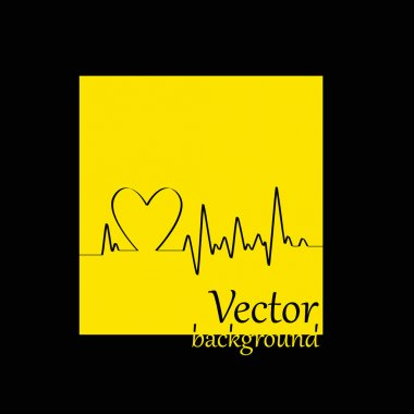 White Heart Beats Cardiogram on Yellow background - vector illustration stock vector