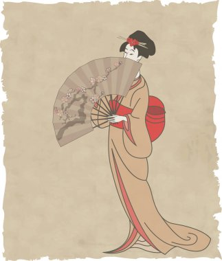 Japanese girl with a fan on old paper