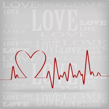 Red Heart Beats Cardiogram on White background - vector illustration stock vector