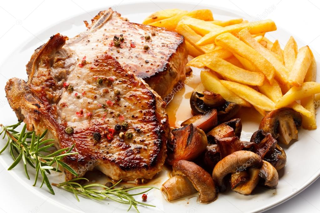 Fried Pork Chop Chips And Vegetable Salad Stock Photo 33511215