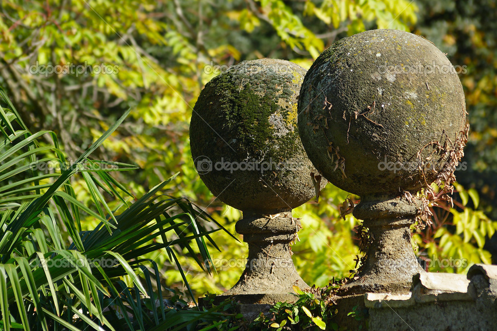 Concrete Balls At The Garden Hedge, Overgrown With Moss U2014 Photo By Oroch2