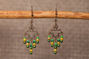 Hand-made coloured earrings