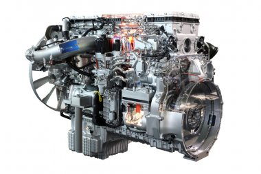 Heavy truck diesel engine isolated