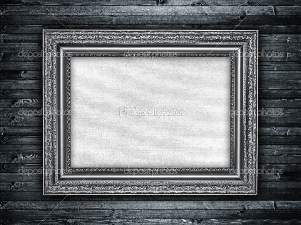 Vorlage - Blatt Papier in Bilderrahmen auf Holz-Hintergrund ...