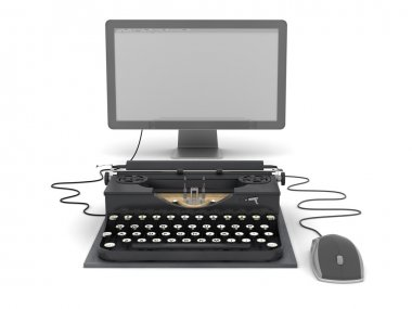 Retro typewriter, computer monitor and mouse