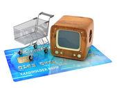 Fényképek TV vásárlás - koncepció illusztráció