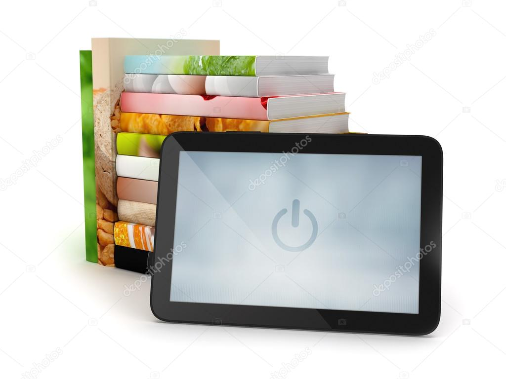 Tablet computer and stack of books on white background