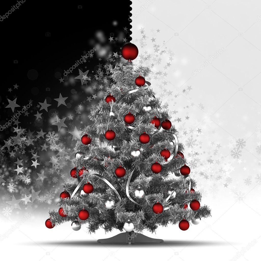 Christmas Tree With Red Baubles On Black And White Background Stock Photo Image By C Digieye 35050047