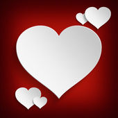 Fotografie Valentines Day - white hearts on red background