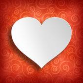 Fotografie Valentýn - bílým lomem na červeném vzorované pozadí