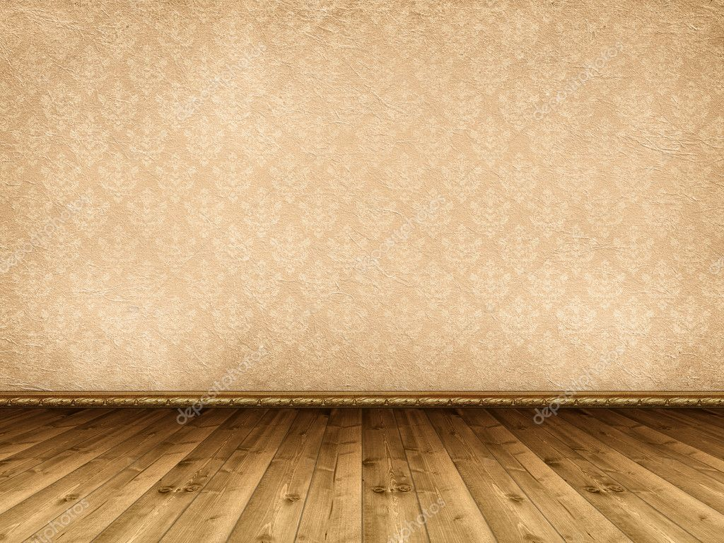 Interior background - wooden floor and vintage wallpaper