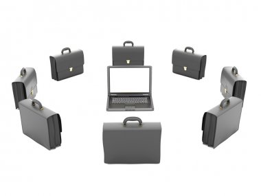 Laptop and business briefcases on white background