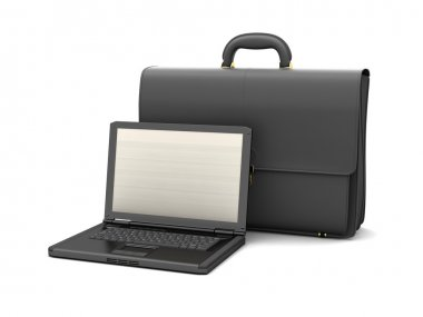 Leather briefcase and laptop