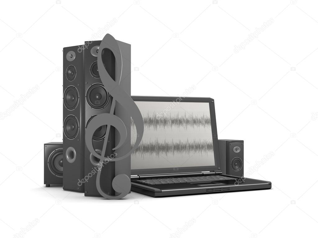 Laptop mit audio-Diagramm auf Bildschirm und Audio-Lautsprecher ...