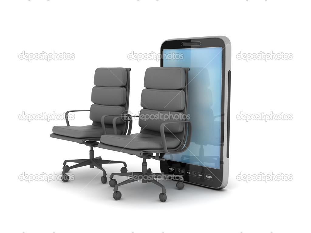 Telefono cellulare e due sedie da ufficio u2014 foto stock © digieye