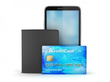 Credit card, mobile phone and leather wallet