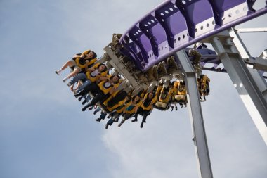 Roller coaster ride in the park