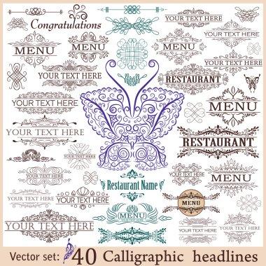 Vector set: 40 calligraphic design elements for menu or its.