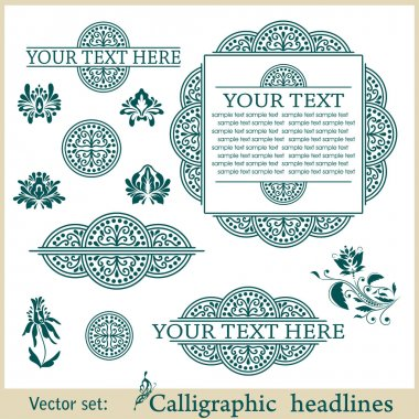 Vector set: calligraphic design elements