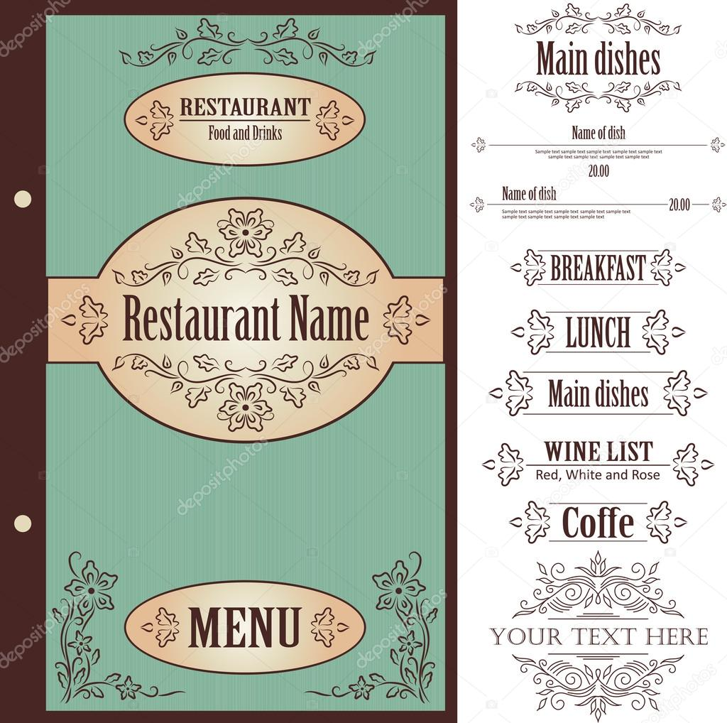 Restaurant menu design template vector — stock