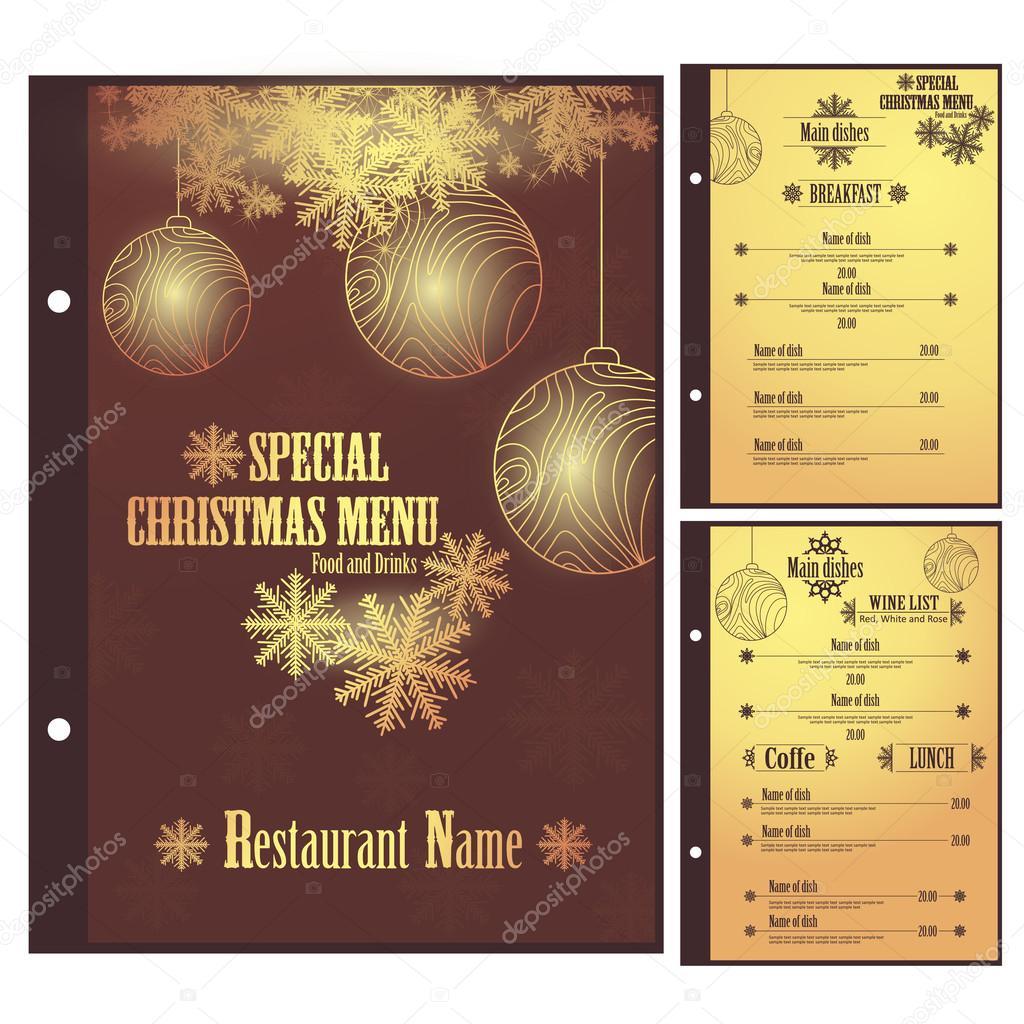 plantilla de diseño de menú de Navidad restaurante del vector ...