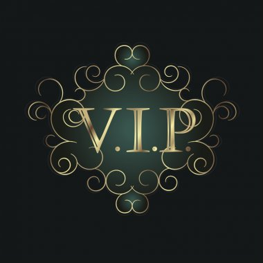 Vip golden symbol in scroll frame.
