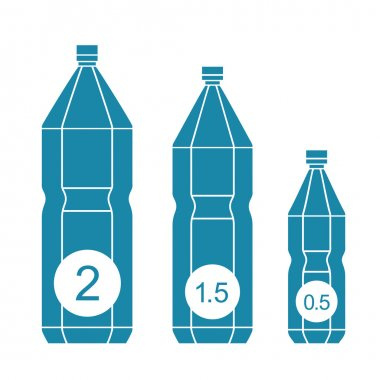 Set of isolated water bottle icons