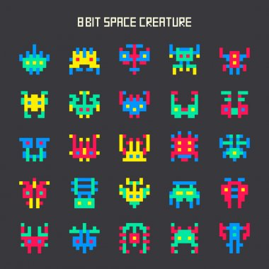 Set of 8-bit game color space monsters stock vector