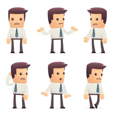 Set of manager character in different interactive  poses stock vector