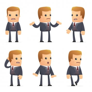 Set of advisor character in different interactive  poses stock vector