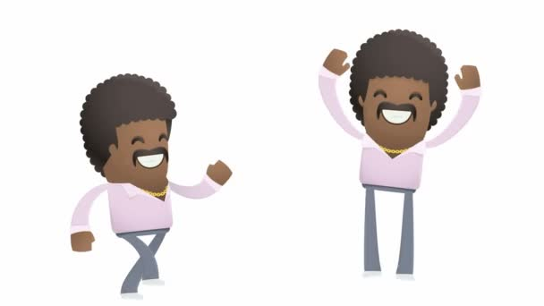 Joyful dancer character going and jumps