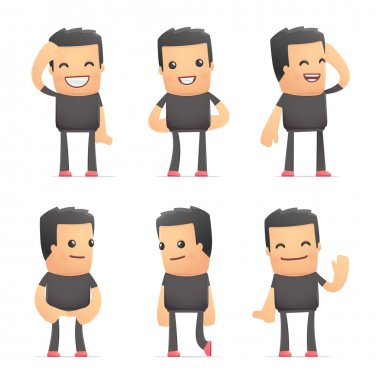 Set of bad guy character in different interactive  poses stock vector