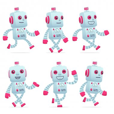 set of robot character in different poses