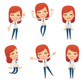 set of reception character in different poses