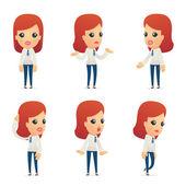 Fotografia set di caratteri di ricezione in diverse pose