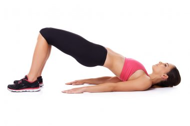 Fit woman doing exercises