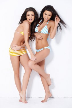 Two brunette sweeties smiling while posing