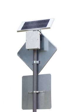 road sign with solar panel energy