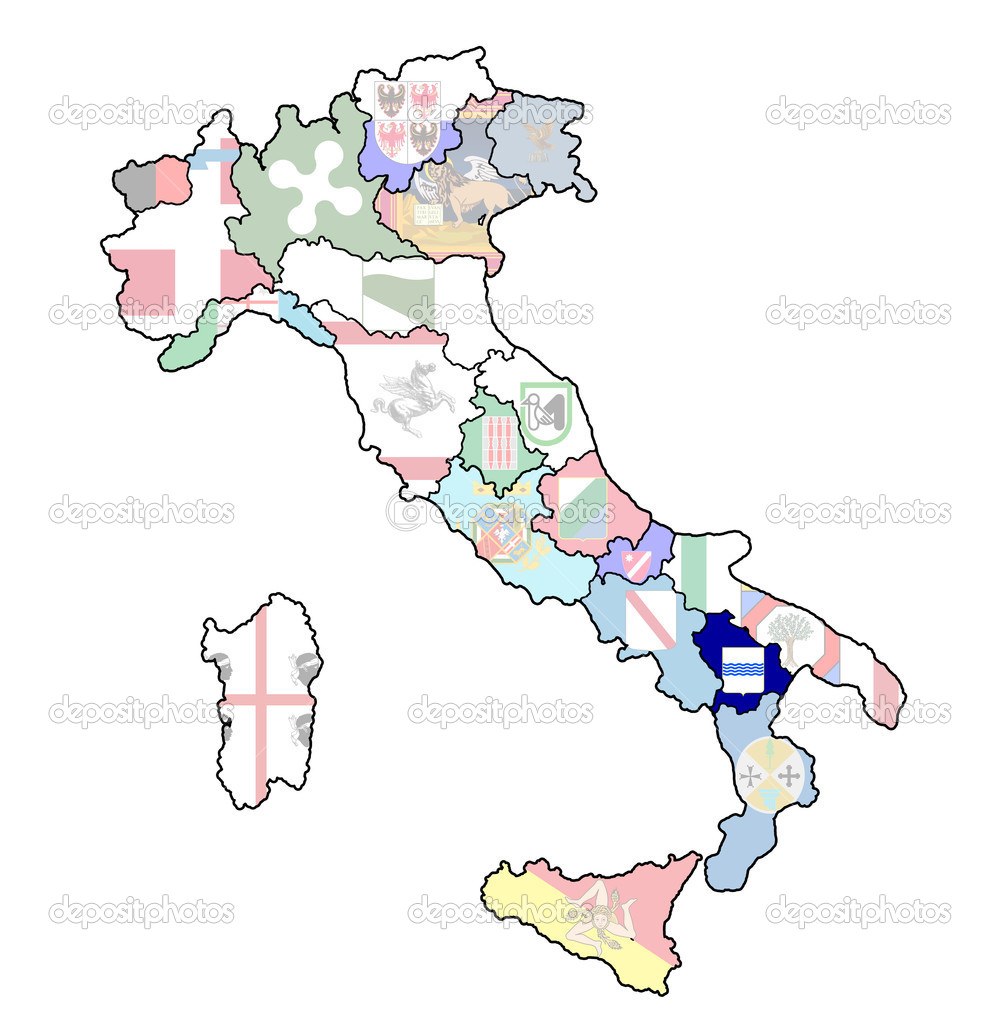 Map Of Italy With Basilicata Region Stock Photo C Michal812 21175671
