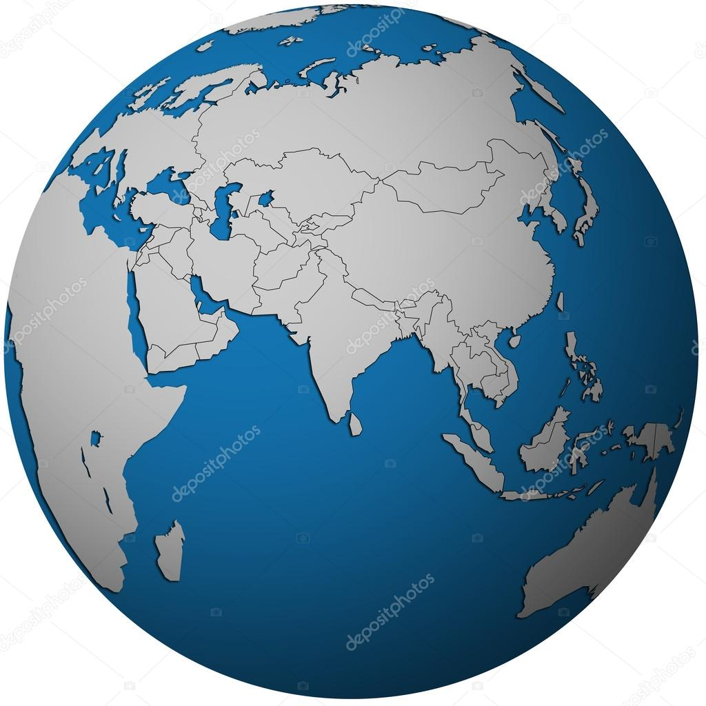 political map of asia on globe map stock photo