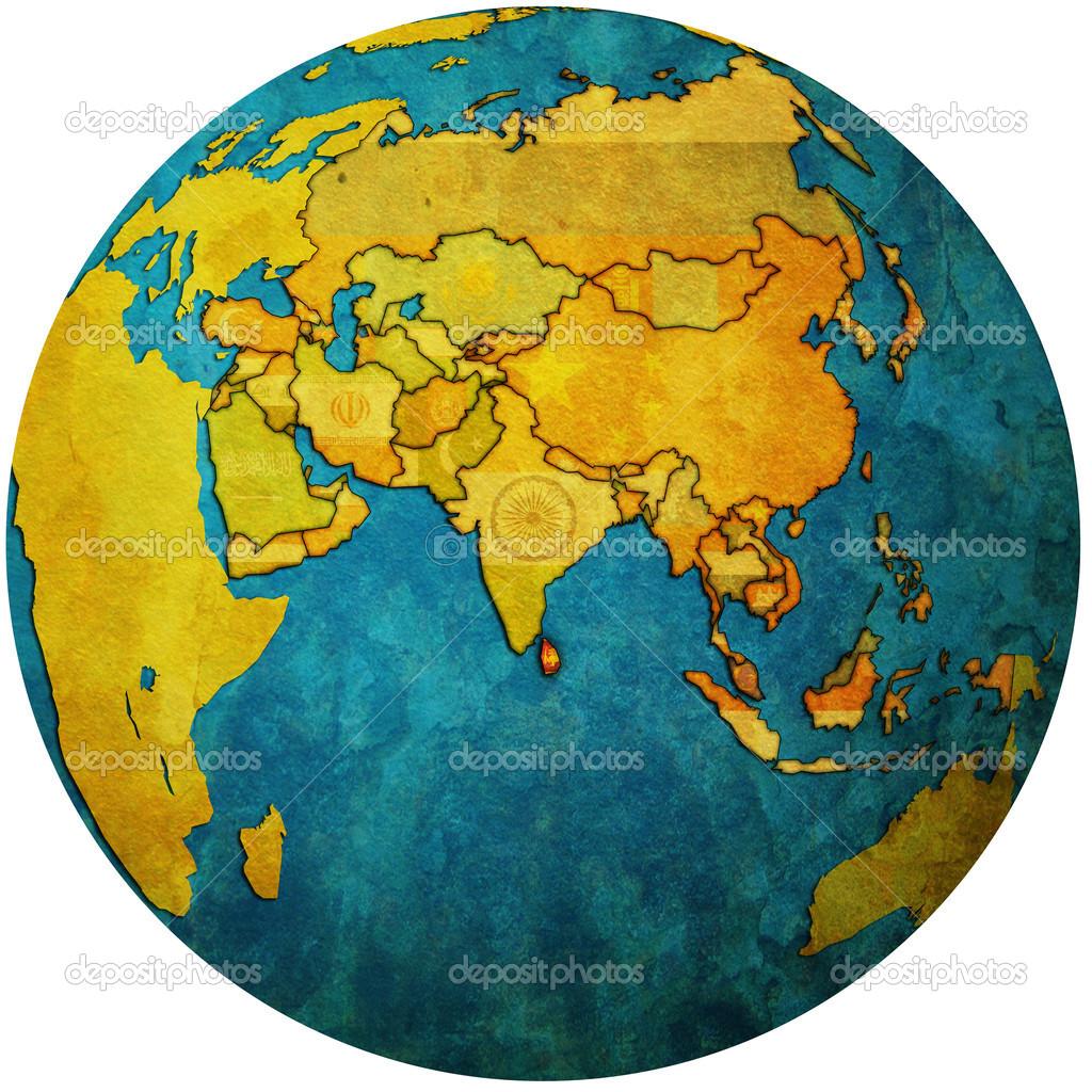 Globus Karte.Sri Lanka Auf Globus Karte Stockfoto Michal812 25717331